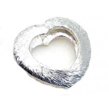 Børstet sølv hjerte 14 mm