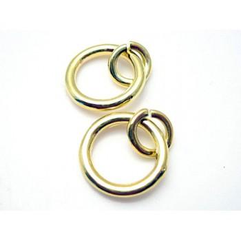 Guldbelagt Åben / lukket  O-ring 15 mm - 2 stk