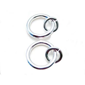 Sølv belagt  Åben / lukket  O-ring 15 mm - 2 stk