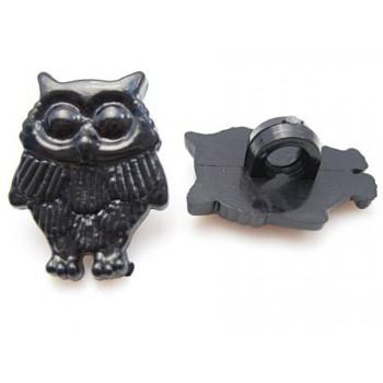 Ugle sort 18 mm - 2 stk - knap eller lim