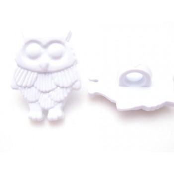 Ugle hvid 18 mm - 2 stk - knap eller lim