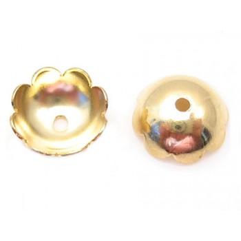 Perleskål guldbelagt 6 mm - 20 stk