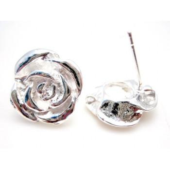 Sølv bel. Roser 16 mm - 1 par
