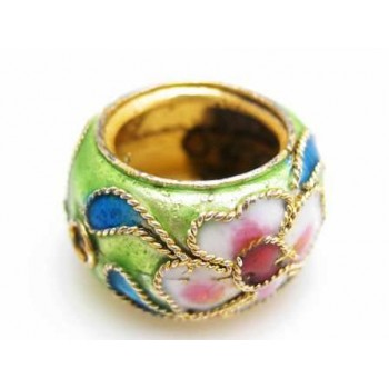 Cloisonne ring 15 mm lys grøn / Lime