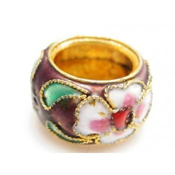 Cloisonne ring 15 mm mørk brun