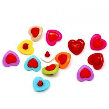 Hjerte knapper 15 mm - 14 stk
