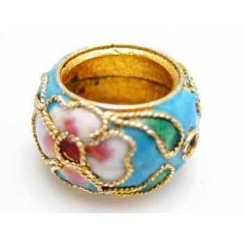 Cloisonne ring 15 mm turkis