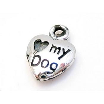 """St. sølv hjerte """"jeg elsker min hund"""" 20 mm"""