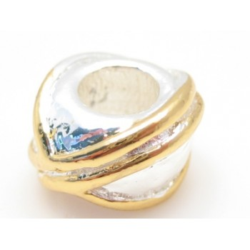 Guld / sølv perle med snoning 12 / 4 mm