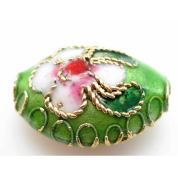 Cloisonne oval 11 mm lime - 2 stk