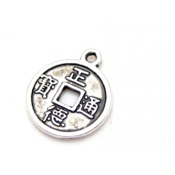 Mønt vedhæng i tibet sølv 19 mm