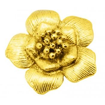 Blomster vedhæng / Knap  Guld 40 mm