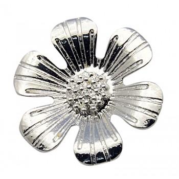 Sølv blomst vedhæng / knap 34 mm