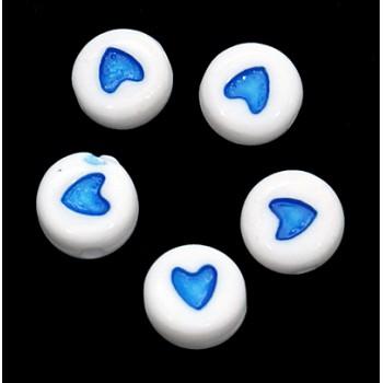Hjerte perle blå 7 mm - 30 stk