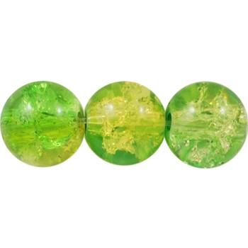 Krakeleret perle 8 mm Lys - mellem grøn - 50 stk