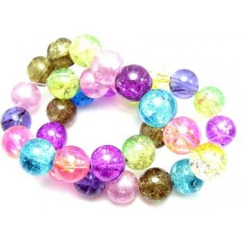 Krakeleret perle 12 mm farvemix - 30 stk