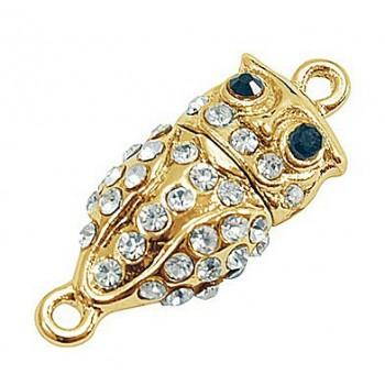 Ugle magnet lås guld med stene 32 mm