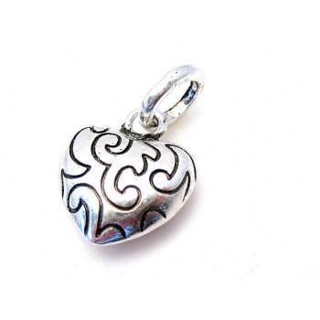 Hjerte med mønster sølvbelagt 24 mm
