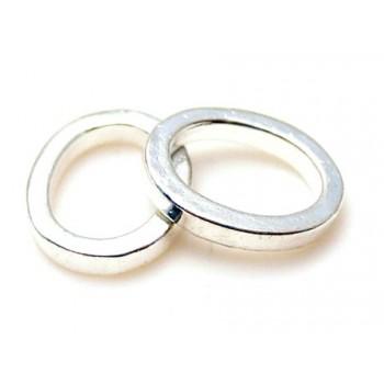 Kraftig oval lukket ring sølv belagt