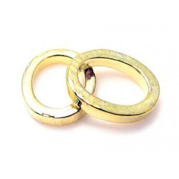 Kraftif oval lukket ring guldbelagt