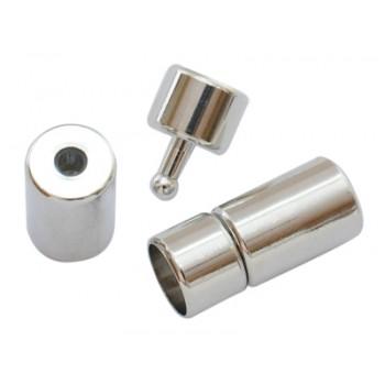 Messing lås med enderør  4 mm indvendig hul - 1 sæt