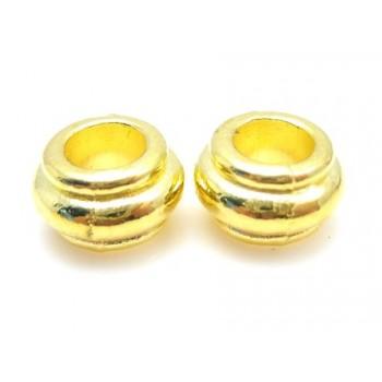 Massive guld med riller  10 / 4,8 mm - 4 stk - EKSKLUSIV