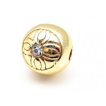 Massiv guld belagt med sten rund 10 / 2,5 mm - EKSKLUSIV