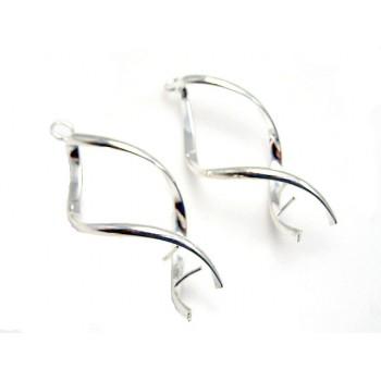 Sølv belagte øreringe 45 mm