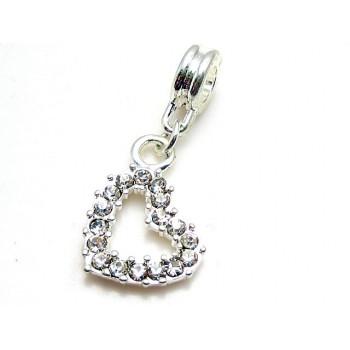 Hjerte sølv belagt m/ kl. stene 30 mm