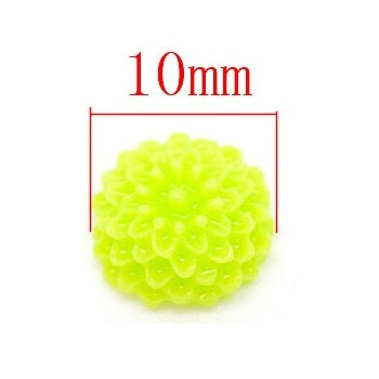 Mini resin blomster 10 mm - 4 stk Lime grøn