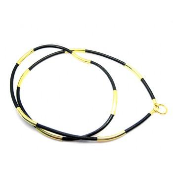 Læder halskæde til vedhæng guld eller sølv