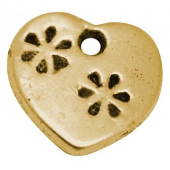 Hjerte med blomst 12 mm - 2 stk