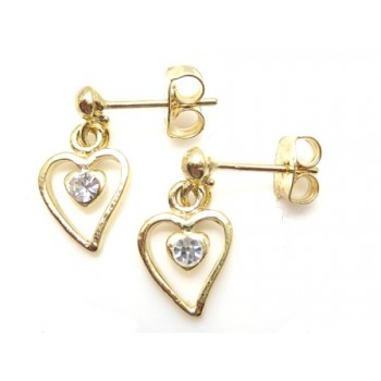 Guld belagt hjerte ørering med sten