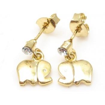 Guld belagt ørering med elefanf og zirkon
