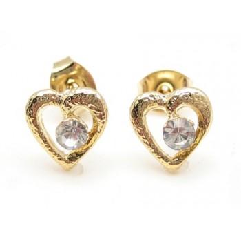 Guld belagt ørering med hjerte og zirkon