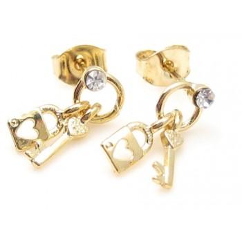 Guld belagt ørering lås, nøgler og zirkon