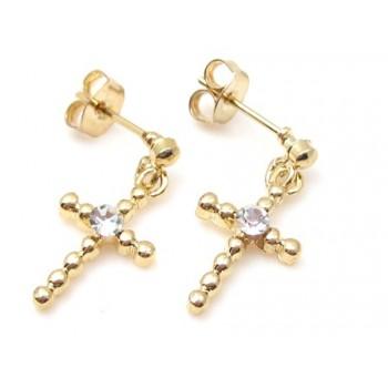 Guld belagt ørering med kors og zirkon sten