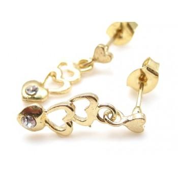 Guld belagt ørering med hjerte ranke og zirkon sten