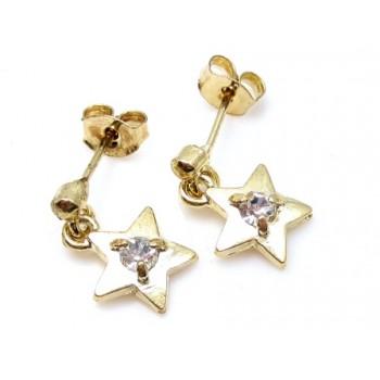 Guld belagt ørering med stjerne og zirkon sten