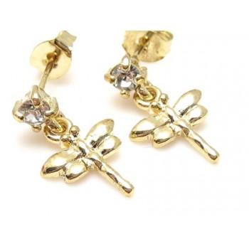 Guld belagt ørering med guldsmed og zirkon