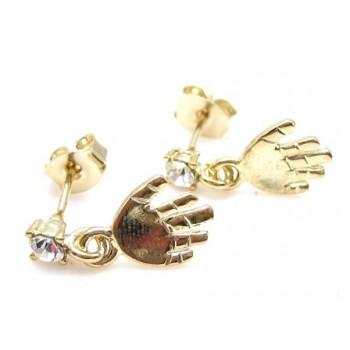 Guld belagt ørering med hånd og zirkon