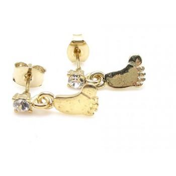 Guld belagt ørering med fod og zirkon sten