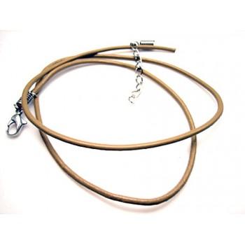 lav selv smykker startsæt - Læderhalskæde  2mm max 55 cm -kan afkortes - LYS BRUN
