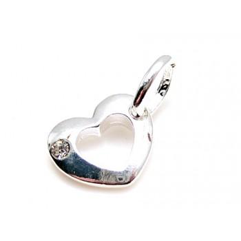 Smukt sølv belagt vedhæng med sten 20 mm