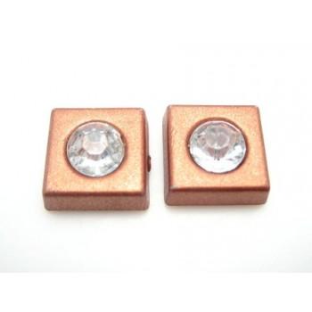 Firkant med sten 11 mm - brun - 2 STK
