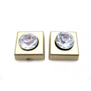 Firkant med sten 11 mm - Guld - 2 STK