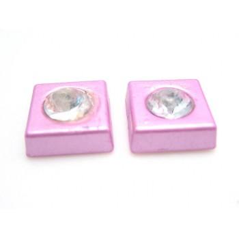Firkant med sten 11 mm - lys lilla - 2 STK