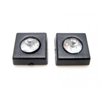 Firkant med sten 11 mm - sort  - 2 STK