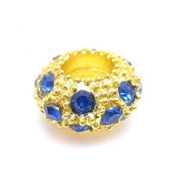 Guld led med stene blå
