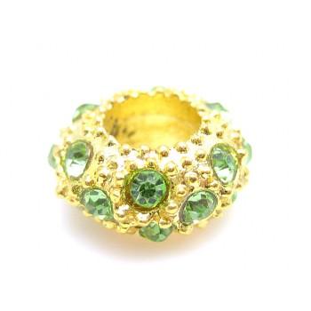 Guld led med stene grøn